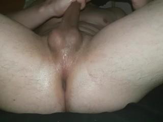 Oiled cock with tied balls fucks homemade fleshlight