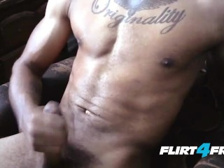 Handsome Eric Buck Probes His Muscles and BBC