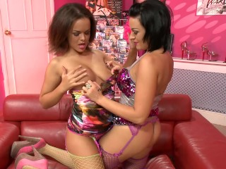 busty teen lesbos pussy licking and playing with toys