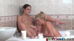 Girlfriends Teen secretly films lesbian lovers candlelit bubble bath