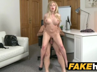 Fake agent hot blonde big tits russian gets a facial