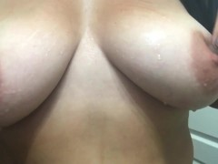 Real milf rubbing tots with ice making her nipples hard
