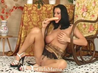 brunette mom with huge natural tits masturbating pussy and sucking a dildo