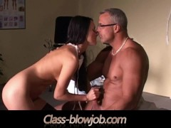 Nurse Sucks Patient cock at the doctor office and swallows his cum