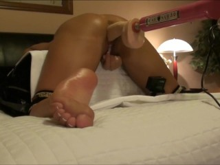 HOT WIFE FOOT VIEW KNEES TIED DOGGY STYLE DILDO FUCK MACHINE