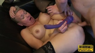 Mature Britt cocksucks dom in front of sissy  lingerie british bdsm cuckold old blowjob pascalssubsluts fetish busty sissy rough mature heels gagging anal maledom