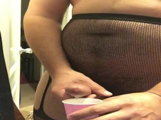 Cumshot in jockstrap stockings 2