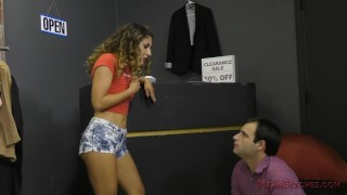Clothing Store Sales Girl Makes Him Her Bitch - Liv Revamped - Femdom  liv revamped slave outside facesitting meanbitches public young kink domme latina latin teenager foot worship natural tits ass licking ass kissing femdom ass worship