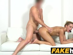 Fake Agent Tall Skinny Glamour model in Sweaty Casting Couch fuck