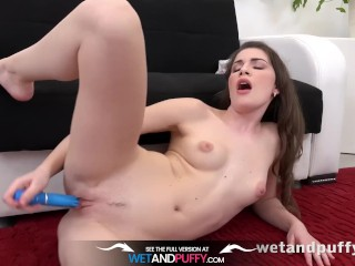 Wetandpuffy - Brunette Zena Little toy her puffy pussy with rabbit vibrator