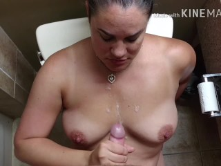 Hungover MILF gets tits sprayed after sucking dick the morning after, Pt. 2