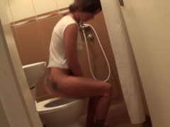 Hidden camera in the toilet by my step brother