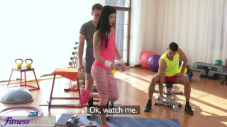 Fitness Rooms Spit roast threesome fucking and facial for hot teen  big cock teen small tits fitness old man young girl young black hair 3some threesome orgasm teenager facial natural tits czech spitroast fitnessrooms female orgasm double blowjob