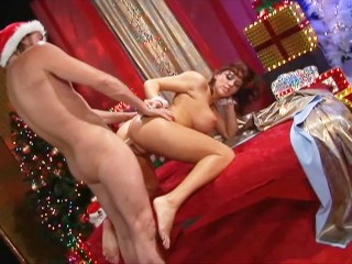 the little helper of santa claus takes big cock and gets blown up with cum