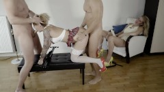 Two Guys Fuck and Gag WetKelly schoolgirl while Kate Truu watch them. Part2