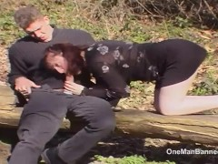 Outdoor photoshoot leads to three guys fucking her