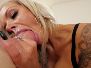 sucking balls 5 nina she blonde milf with huge tits gets hardcore throat fuck