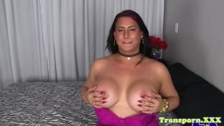 Hugetits tranny tugging her cock until cum