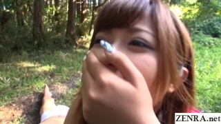 JAV star Haruki Satou bizarre outdoor facesitting Subtitled  outdoor outdoors bbw outside subtitled facesitting voluptuous zenra chubby jav subtitles curvy japanese japan leotard slaves