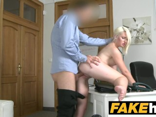 Fake Agent Hot Euro Blonde Bombshell likes Doggy Style on the Casting Couch