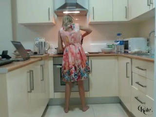 Boobs Cute Blonde Topples In The Kitchen With Black Panties