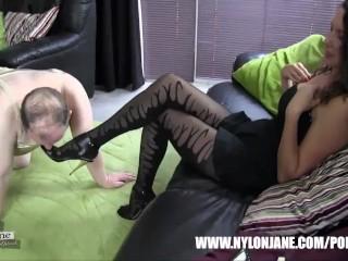Submissive slut satin panties nylon cock foot worship and wank with Milf