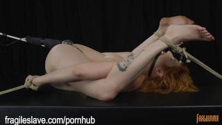 Busty Babe Begging to Cum  bound orgasms rope bondage bdsm redhead bound kink bondage restrained big boobs fragileslave ballgagged struggling bondage orgasms tied up