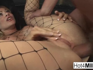 Busty MILF drains the cum out of a white and a black dick