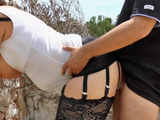 Outdoor fucking with german milf