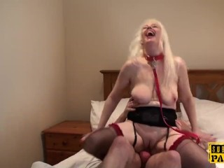 Leashed british slut submited into cumswallow