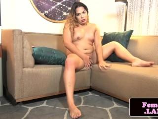 Plumper femboy in lingerie pleasing herself