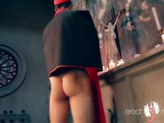 Church man gay solo masturbation in the cathedral after the service