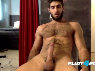 Flirt4Free Guys Cam Stud Diego Sans Unloads Cum On His Sexy Hairy Chest