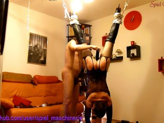 Helpless hanging down slut slave hard whipped & rammed climax