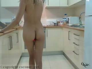 Sexy Blonde Kate Teasing Perfect Ass In The Kitchen