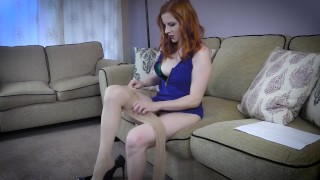 Million Dollar Seduction -Blowjob Footjob Lady Fyre  point of view olivia fyre tease and denial lost bet redhead femdom mom kink foot fetish mother stockings game show big cock footjob pantyhose milf