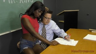 Preview 5 of Black Student Seduces Her Teacher Into Becoming Her Slave- Ana Foxxx Femdom