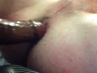 Big black dildo drep in his tight ass