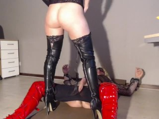 blond milf mistress angellika fucks her slave tv josje in the ass