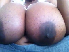Pretty ass size H tits lotioned up and bouncing