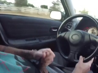 Jacking Off and Cumshot While Driving
