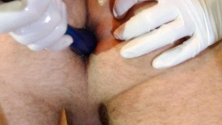 Femdom Bondage Milking with Anal Tease  cock massage cock torture latex gloves anal play tied tease slave bdsm redhead femdom pip cum handjob prostate orgasm kink bondage