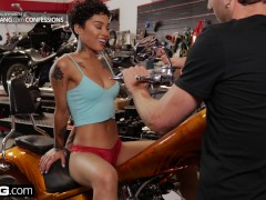 BANG Confessions: Honey Gold Quivers As She Cums On A Revving Motorcycle