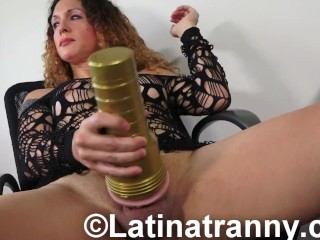 T-girl Nikki Montero FleshLight fun and Cum on Table