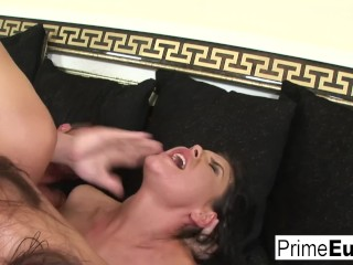 Brunette babe Kate shares a cock with her hot friend B.B.