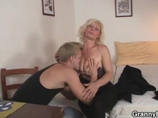 Hunky man doggy-fucks hot blonde grandma