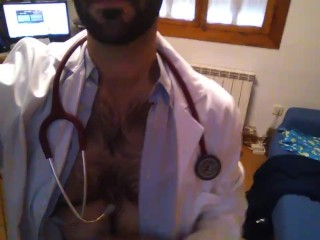 Hot doctor stripping and cumming