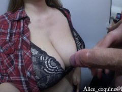 BF cums on my F Cup Boobs in the Fitting Room of a Store