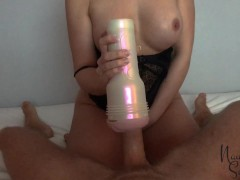 Wife wakes husband up with fleshlight handjob