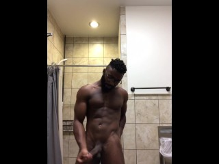 Stroking my BBC in the gym bathroom (w/ cumshot!)